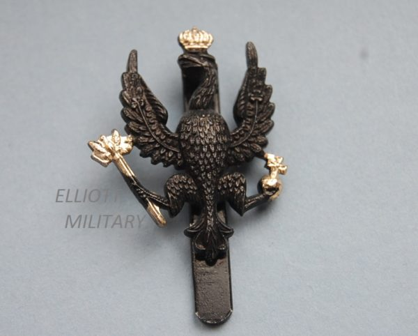 badge with black eagle wearing a gold crown holding a ball and septar