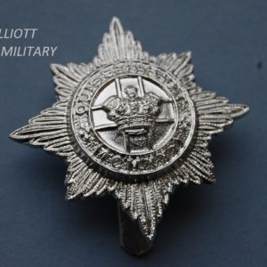 badge with crown in front of a cross within a circle in front of an 8 pointed star