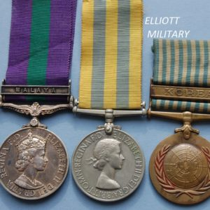 3 medals, one with purple and green ribbon and Malaya bar with Queen Elizabeth's side profile, the second with yellow and blue ribbon and queens profile, the third with blue and white striped ribbon, Korea bar and globe within a wreath