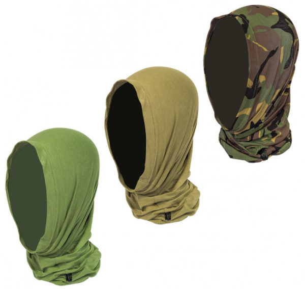 fabric tube stretched over the head showing the various colours available