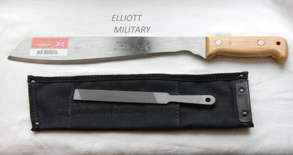 machete with sharpening file and sheath