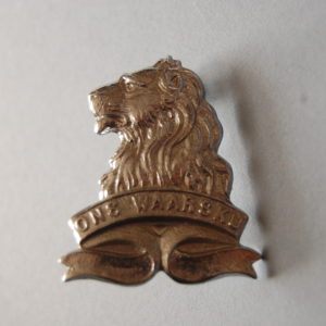 badge with lions head above a scroll