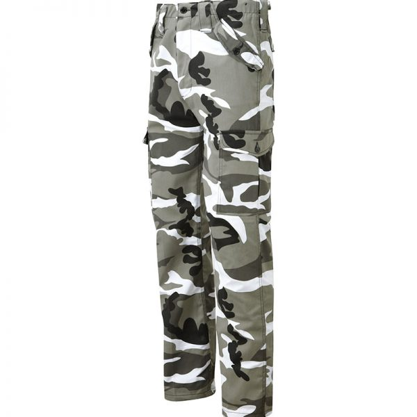 Trousers with grey, white and black disruptive pattern