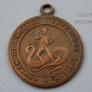 bronze medal with George and the dragon and text reading Church of England Temperance Society