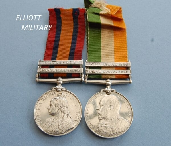 King and Queens South Africa medals showing the Monarchs heads
