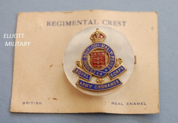 sweetheart badge with RAOC crest on a mother of pearl disc