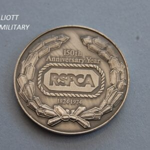disc with RSPCA within a rope border and anniversary dates