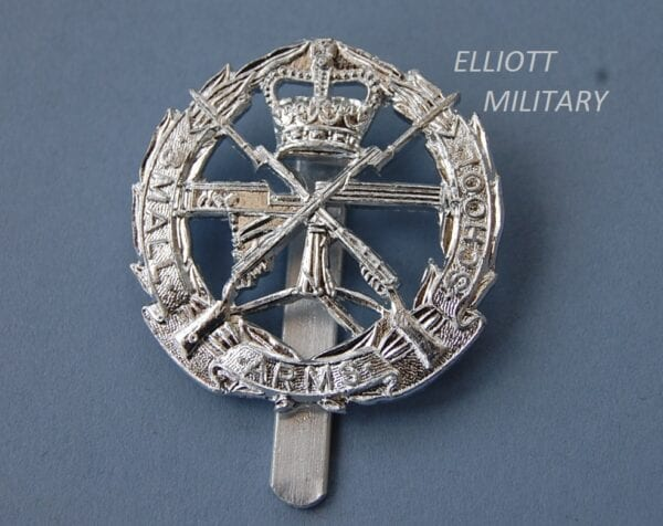 badge with a Vickers machine gun and crossed rifles within a wreath and scroll and a crown above