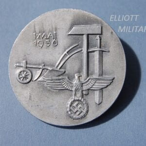 badge with eagle and swastika, sword, hammer and plough with date 1 May 1936