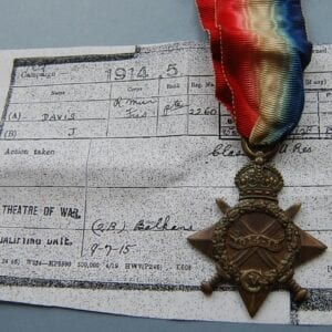 star shaped medal with crossed swords and 1914-15 dated scroll in the centre within a wreath below a crown