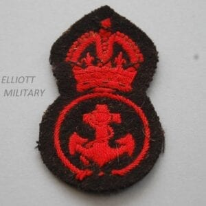 padded cloth badge with red Kings crown above an anchcrown above and anchor within a circle on black backing