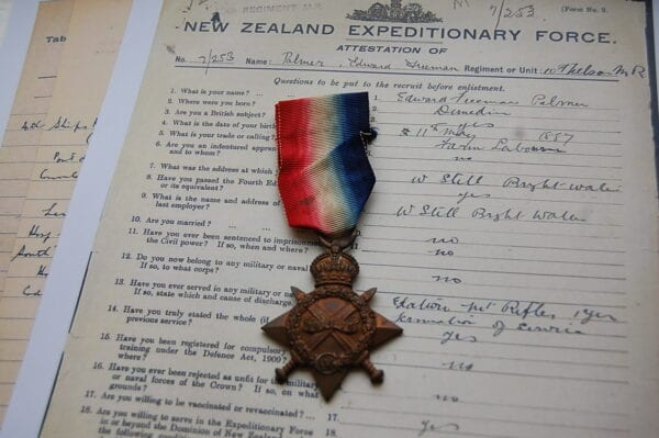 Obverse of medal with papers
