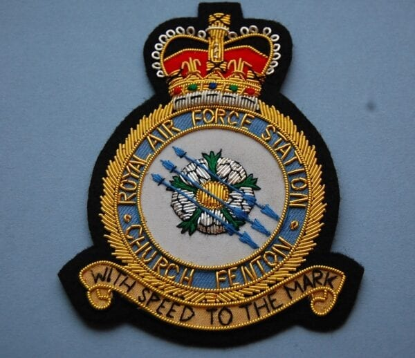 RAF blazer badge showing Church Fenton crest