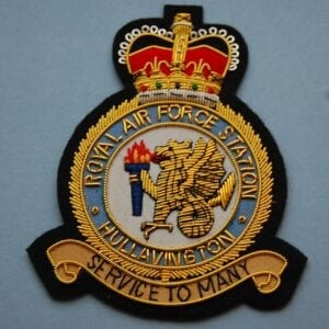 blazer badge with the crest of RAF station Hullavington