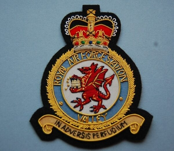 blazer badge with the crest of RAF station Valley
