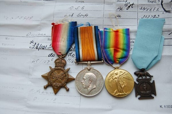 4 medals, showing the obverse