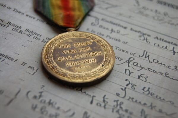 Reverse of medal showing the rim
