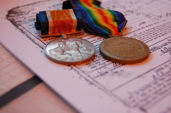 reverse of medals also showing rim